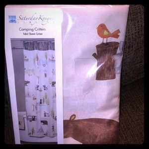 NEW Camping Critters Fabric Shower Curtain $65